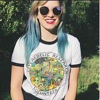 Vintage Psychedelic Mushroom Printed Women's T-Shirts