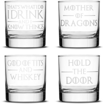 Choose your Whiskey Glass with Game of Thrones Phrases, Sand Carved by Integrity Bottles
