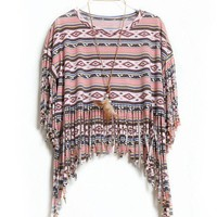 Fashion Loose Bohemian Tassel  Dolman Sleeve T-shirt