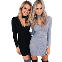 Long Sleeve Sexy Party Black Knitted Dress Casual Bodycon Dress Vestidos Short Sweater Dresses