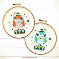 Cute Retro cross stitch pattern - Twin Owls Play Toy Drum -xstitch Instant download- Happy Kawaii Woodland Animal owls play love music