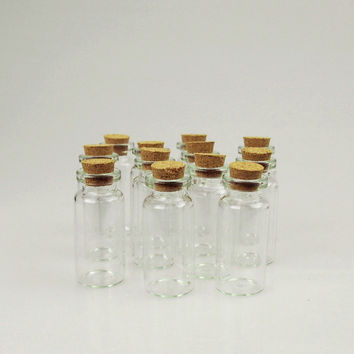 Mini Corked Jars Tube Bottle Favors, 12-pack, 2-inch