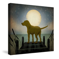 Moonrise Yellow Dog Canvas Wall Art