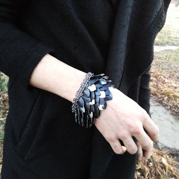 Dragon Scale Mail Bracelet Thanatos, Adjustable, Hand-woven, Gothic Fantasy LARP Armor