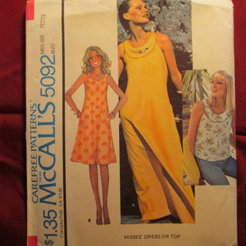 SALE Uncut 1970's McCall's Sewing Pattern, 5092! Petite/Small/Women's/Misses/Sleeveless Dresses or Tops/Short or long  Sundresses/Circle Nec