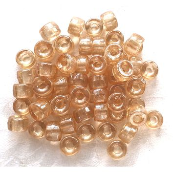 Lot of 25 9mm Crystal Champagne Czech glass pony roller beads, large hole crow beads, C7701