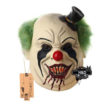 H&D Latex Scary Black Hat Clown Mask for Adults for Halloween Party Costume Cosplay Props