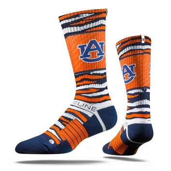 Strideline® 2.0 Bengal Tiger Auburn Tigers Navy Orange White Blue Crew Socks NEW