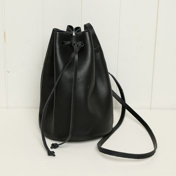 FAUX-LEATHER CROSSBODY BUCKET BAG