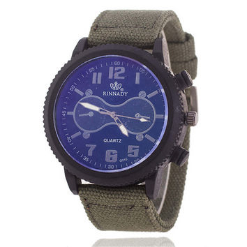 Mens Canvas Leather Strap Watch Army Style Watches +  Beautiful Gift Box