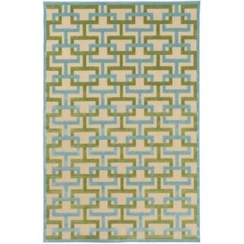 Ledo Geometric Aqua Green Patio Rug
