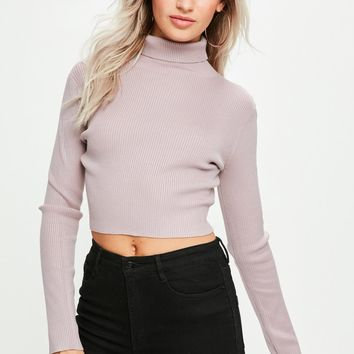 Missguided - Mauve Basic Roll Neck Top