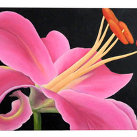 Modern Pink Lily Acrylic Painting / 24 x 36 inches