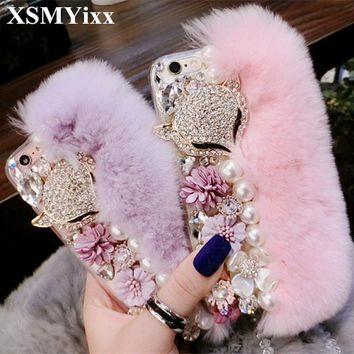 Luxury Bling Warm Soft Beaver Rabbit Fur Hair & Flowers TPU Phone Cases for Samsung S8 S9 Note 4 5 Luxury For iPhone X 7 8 Phone