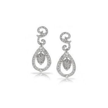 Wedding Acorn Bridal Prom Pave CZ Dangle Earrings Silver Plate Brass