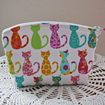Clutch Cosmetic Bag Purse Colorful Cats Made in USA