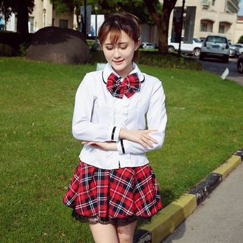 High quality sailor suit students school uniform for teens preppy style cos uniform JK fashion Japanese Seifuku bow skirt shirt