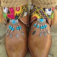 Gypsy Boho Southwestern Native American Cowgirl Boots size 7, Sante Fe Sally Boots