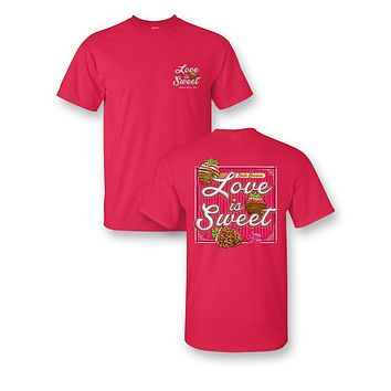 Sassy Frass Smile bc Love is Sweet Chocolate Strawberries Valentine's Day Bright Girlie T Shirt
