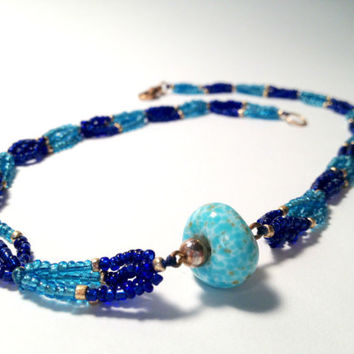 Blue Necklace with Glass Beads and Turquoise Pendant, Fall Gifts, Gift Ideas, Handmade Accessories, Turquoise, Turquoise Jewelry, Blue