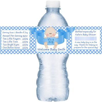 21 Its A Boy Baby Shower Water Bottle Labels Light Skin Baby