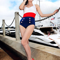 Retro NEW Sailor Style One Piece Swimsuit - S to 2XL - Unique Vintage - Homecoming Dresses, Pinup & Prom Dresses.
