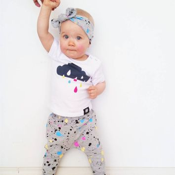 New 2019 Summer Baby Girl Clothes Newborn Short sleeve Color Printed T-shirt+Pants+Headband 3Pcs Toddler Infant Clothing Set