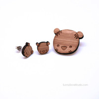 Tiger Brooch Cute Bamboo Pin Laser Cut Wood Wooden Jewelry Fun Animal Jewelry For Friends Sister Girlfriend Teens Her Gifts Gift Ideas