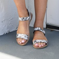 Like No Other Black & White Snake Sandal