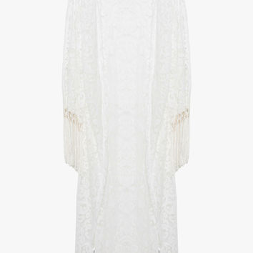 White Floral Lace Maxi Length Kimono with Fringe