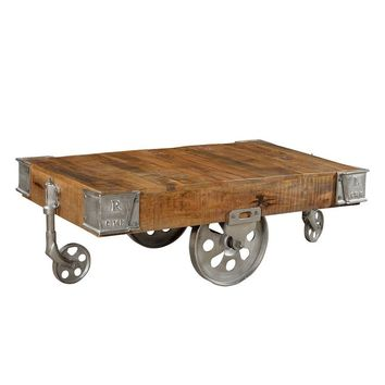 Industrial Wood Cart Coffee Table - Silver | GFURN