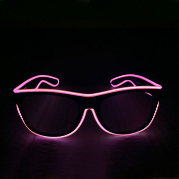 Blue el glasses El Wire Fashion Neon LED Light Up Shutter Shaped Glow Rave Costume Party DJ Bright Glasses