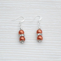 Small romantic gift, copper Pearl earrings with rondelle beads, valentine gift, Wedding jewelry, birthday party, great gift for mom