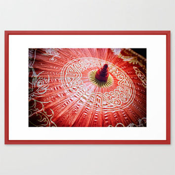 Red Silk Chinese umbrella Framed Art Print by Wood-n-Images