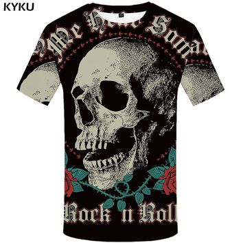 KYKU Skull T-shirt Men Black Flower T-shirt Rose Cool Anime 3d Printed Tshirt Funny Punk Rock Mens Clothing Casual Summer Tops