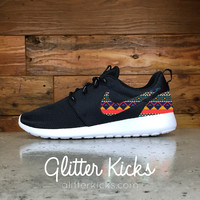 Nike Roshe One Customized by Glitter Kicks - BLACK / WHITE / NAVAJO PATTERN