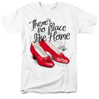 Wizard of Oz - There's No Place Like Home with Ruby Slippers White Color T-Shirt