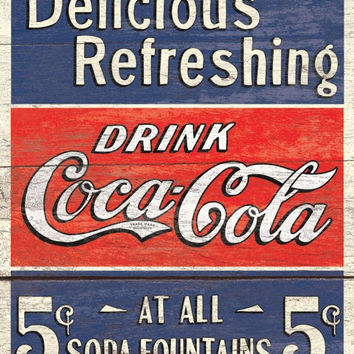 COKE - Delicious 5 Cents Metal Tin Sign 12x16