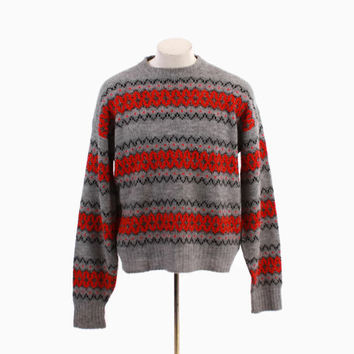 Vintage 60s Men's SWEATER / 1960s McGregor Norwegian Knutun Pullover Ski Sweater L