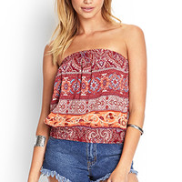 FOREVER 21 Paisley Floral Crop Top Burgundy/Cream