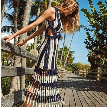2017 Knitted tank dress white blue patchwork striped beach dresses women summer dresses very beautiful