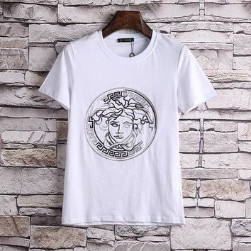 ESBONS Versace Women or Men Fashion Casual Pattern Embroidery Shirt Top Tee