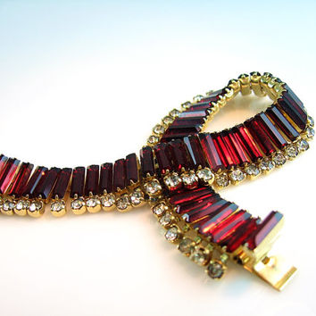 Rhinestone Bracelet Kramer of New York Ruby Red Baguette Articulated Clear 1950s Vintage Jewelry