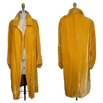 1920s Yellow Velvet Evening Coat