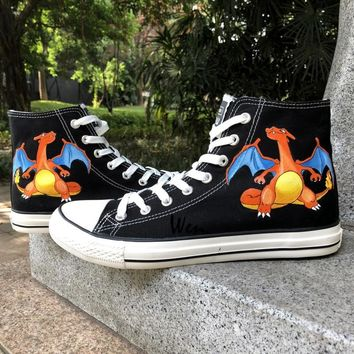 Wen Anime Hand Painted Shoes Dragon Pocket Monster  Charizard Black Sneakers Woman Man's High Top Canvas ShoesKawaii Pokemon go  AT_89_9