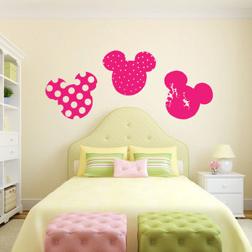 Mickey and Minnie Mouse Heads Vinyl Wall Decal Sticker Graphic