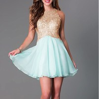 [83.33] Chic Tulle & Chiffon High Collar Neckline A-line Homecoming Dresses with Beaded Lace Appliques - dressilyme.com
