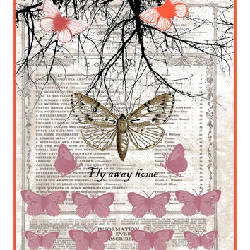 download, tween wall art, butterfly digital print, gift for mom, nursery wall decor, tween birthday, butterfly art gift, whimsical decor