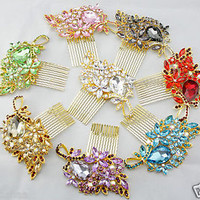*STUNNING* WEDDING BRIDAL DIAMANTE JEWEL CRYSTAL HAIR COMB SLIDE GRIPS-8 COLOURS
