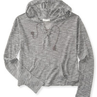 Aeropostale  Womens Lace-Up Crop Popover Hoodie - Gray
